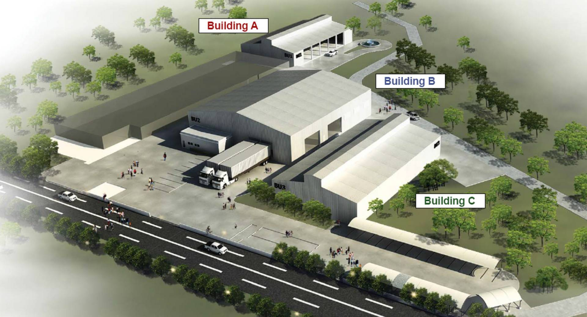 Building A: Welding Shop (expansion from the existing factory & office); Building B: Warehouse and QA Department; Building C: Finishing & Coating and future utility